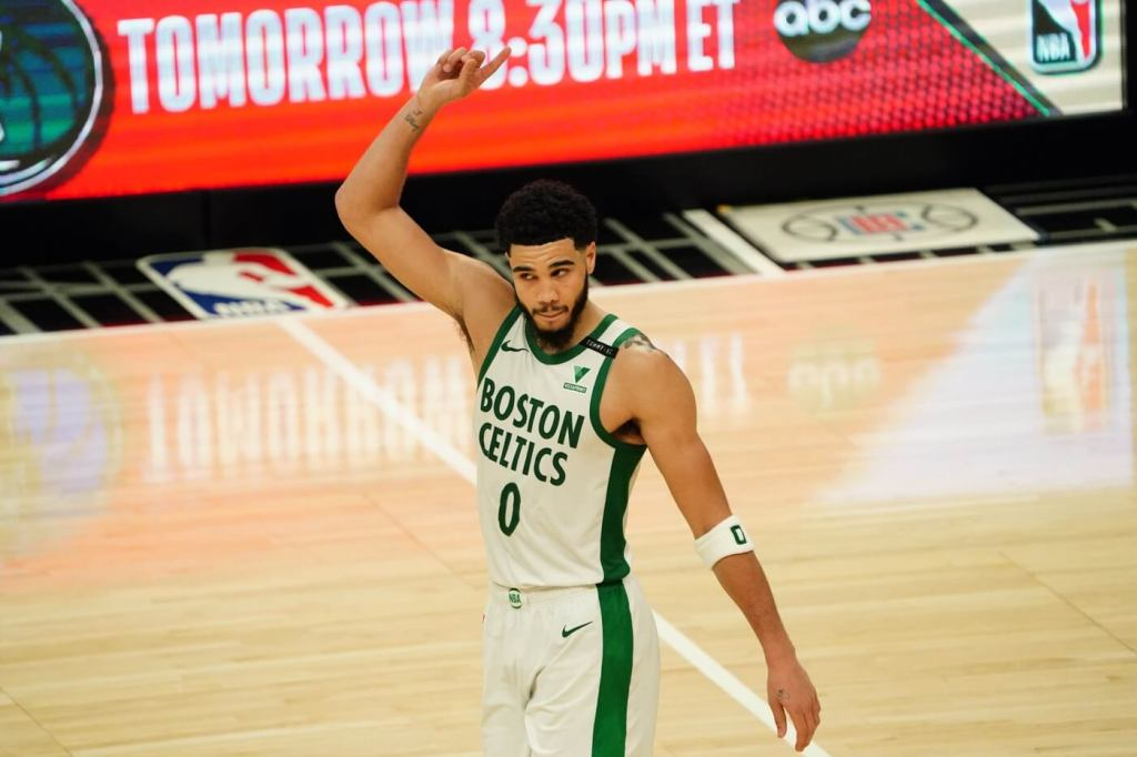 Feb 5, 2021; Los Angeles, California, USA; Boston Celtics forward Jayson Tatum (0) celebrates in the fourth quarter against the LA Clippers at Staples Center.The Celtics defeated the Clippers 119-115. He is one of the most Clutch NBA Players. Mandatory Credit: Kirby Lee-USA TODAY Sports