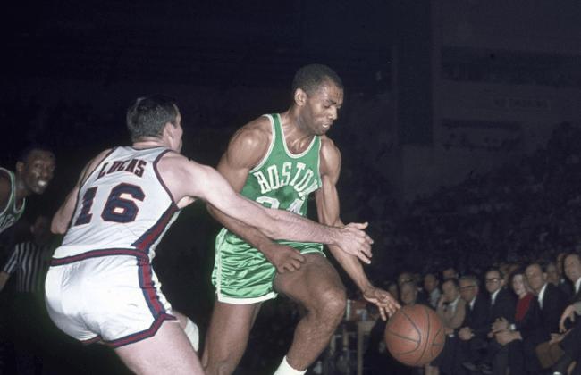 Unknown date; Cincinnati,OH, USA; Sam Jones of the Boston Celtics in action against the Cincinnati Royals at Cincinnati Gardens.
