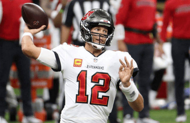 NEW ORLEANS, LOUISIANA - SEPTEMBER 13: Tom Brady #12 of the Tampa Bay Buccaneers throws against the New Orleans Saints during the second quarter at the Mercedes-Benz Superdome on September 13, 2020 in New Orleans, Louisiana. (Photo by Chris Graythen/Getty Images)