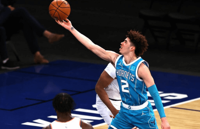 May 15, 2021; New York, New York, USA; LaMelo Ball #2 of the Charlotte Hornets heads for the net in the second quarter at Madison Square Garden on May 15, 2021 in New York City. Mandatory Credit: Elsa/Pool Photo-USA TODAY Sports
