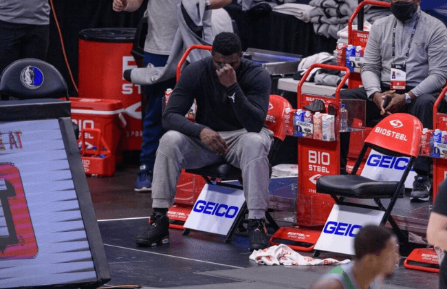 May 12, 2021; Dallas, Texas, USA; New Orleans Pelicans forward Zion Williamson (1) reacts to action in the game from the team bench during the second quarter against the Dallas Mavericks at the American Airlines Center. Mandatory Credit: Jerome Miron-USA TODAY Sports