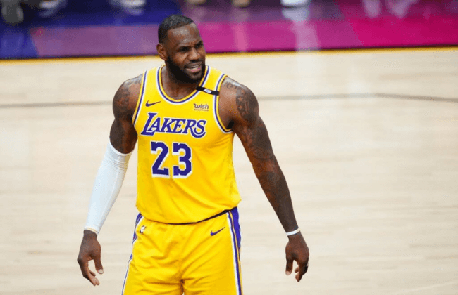 May 25, 2021; Phoenix, Arizona, USA; Los Angeles Lakers forward LeBron James (23) against the Phoenix Suns during game two of the first round of the 2021 NBA Playoffs at Phoenix Suns Arena. Mandatory Credit: Mark J. Rebilas-USA TODAY Sports