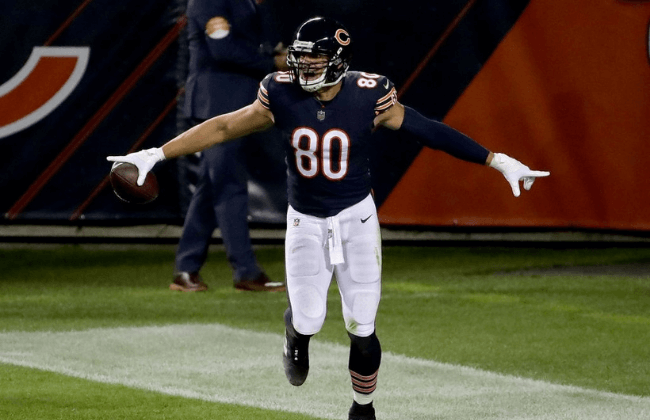 CHICAGO, ILLINOIS - OCTOBER 08: Jimmy Graham #80 of the Chicago Bears celebrates after scoring a touchdown in the second quarter against the Tampa Bay Buccaneers at Soldier Field on October 08, 2020 in Chicago, Illinois. (Photo by Jonathan Daniel/Getty Images)