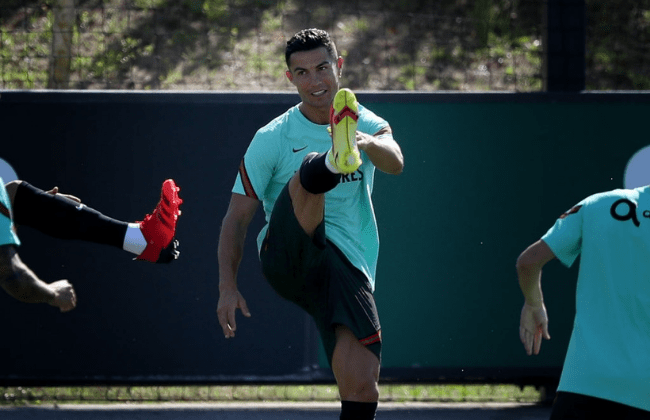Portugal's forward Cristiano Ronaldo attends a training session at Cidade do Futebol training camp in Oeiras, Portugal, on August 31, 2021, as part of the team's preparation for the upcoming FIFA World Cup Qatar 2022 qualifying football match against Ireland. (Photo by Pedro Fiúza/NurPhoto via Getty Images)