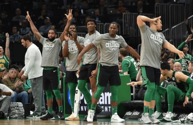 Mar 8, 2020; Boston, Massachusetts, USA; The Boston Celtics bench reacts after a basket during the first half against Oklahoma City Thunder at TD Garden. Mandatory Credit: Bob DeChiara-USA TODAY Sports