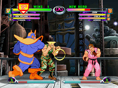 Marvel vs. Capcom 2: The New Age of Heroes, Capcom, 2000. Image Source: Emuparadise at https://www.emuparadise.me/Sega_Dreamcast_ISOs/Marvel_vs._Capcom_2_-_The_New_Age_of_Heroes_(USA)/95