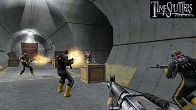TimeSplitters 2, Free Radical Design, Eidos Interactive, 2002. Image from the PlayStation official website: https://www.playstation.com/en-us/games/timesplitters-2-ps2/