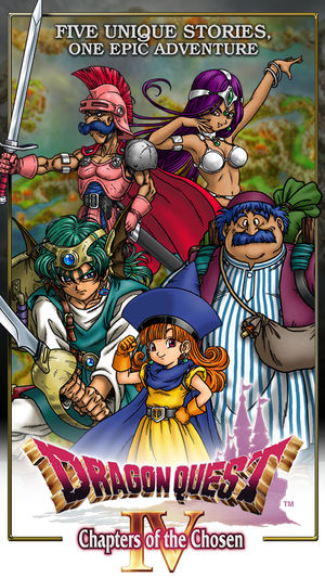 Promotional art for the mobile port of Dragon Quest IV. Drawn by Akira Toriyama, developed and published by Square Enix, 2014.