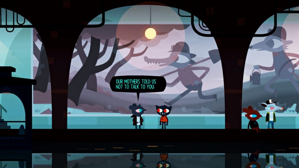 """A screenshot of Night in the Woods. Mae stands beneath the mural in the subway tunnel with one of the teens, who say, """"Our mothers told us not to talk to you."""""""