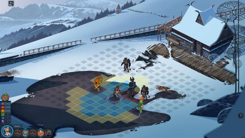 Gameplay screenshot, during a battle. The Banner Saga, Stoic Studio, Versus Evil, 2014
