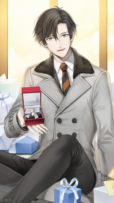 A screenshot from Jumin's after ending. He sits on the floor in front of a yellow wall, surrounded by presents wrapped in blue. In his hand, being offered to a the player, sits a red velvet box with some sort of fancy jewelry in it. Mystic Messenger, Cheritz, 2016