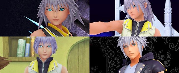 Four images of Riku from Kingdom Hearts I, Kingdom Hearts II, Dream Drop Distance, and Kingdom Hearts III. In the first three, Riku's eyes are a vibrant turquoise; in the fourth, they are distinctly green. Kingdom Hearts Series, Square Enix, 2018, Editing by Sammantha Sanchez