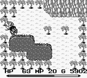 A screenshot of Final Fantasy Adventure featuring the two palm trees the player is supposed to circle. Final Fantasy Adventure, Square, 1991