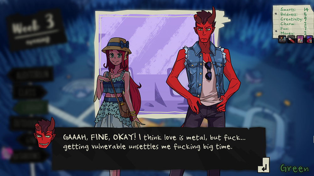 "A screenshot of Damien saying, ""GAAAH, FINE, OKAY! I think love is metal, but fuck...getting vulnerable unsettles me fucking big time."" Monster Prom, Beautiful Glitch, Those Awesome Guys, 2018."