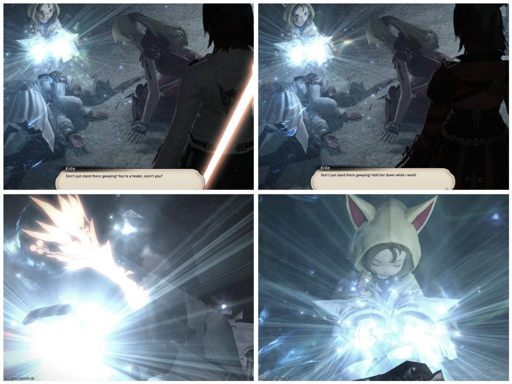 "Four screenshots from Final Fantasy X: A Realm Reborn: Stormblood. The first pair shows a character dead on the ground, with a dialog box from Krile reading, ""Don't just stand there gawping! You're a healer, aren't you!"" and a second screenshot showing the player character healing the character lying on the ground. The second pair shows Krile saying, ""Don't just stand there! Hold her down while I work!"" and has the player character helping rather than healing."