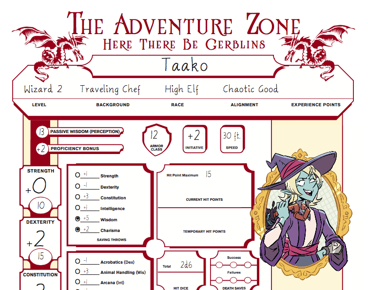 An image of Taako the witch's character sheet. The Adventure Zone: The Return to The Test of Initiation, Clint McElroy, Griffin McElroy, Justin McElroy, and Travis McElroy (creators); Griffin McElroy (writer); Carey Pietsch (illustrator), First Second, Dragon+ Magazine, 2018