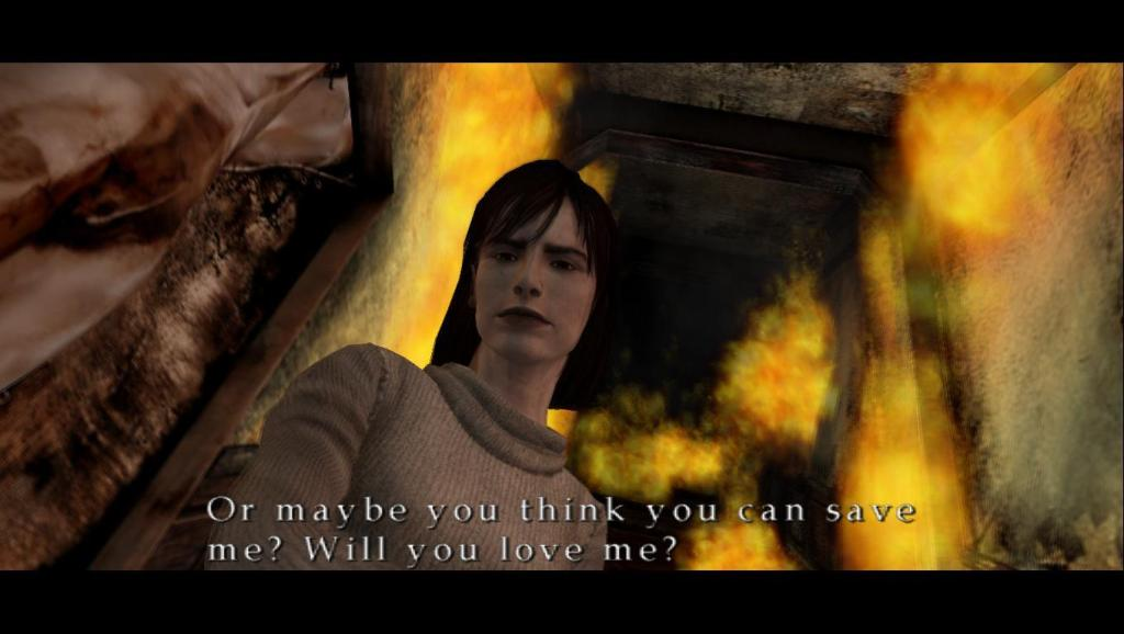 Angela from Silent Hill 2, addressing James and his desire to help her. Silent Hill 2, Konami, 2001.