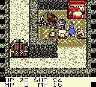 A screenshot showing the protagonist facing a dragon while a princess (Princess Lora from Dragon Quest I) looks on. Dragon Warrior Monsters, Tose, Enix/Eidos Interactive, 2000.