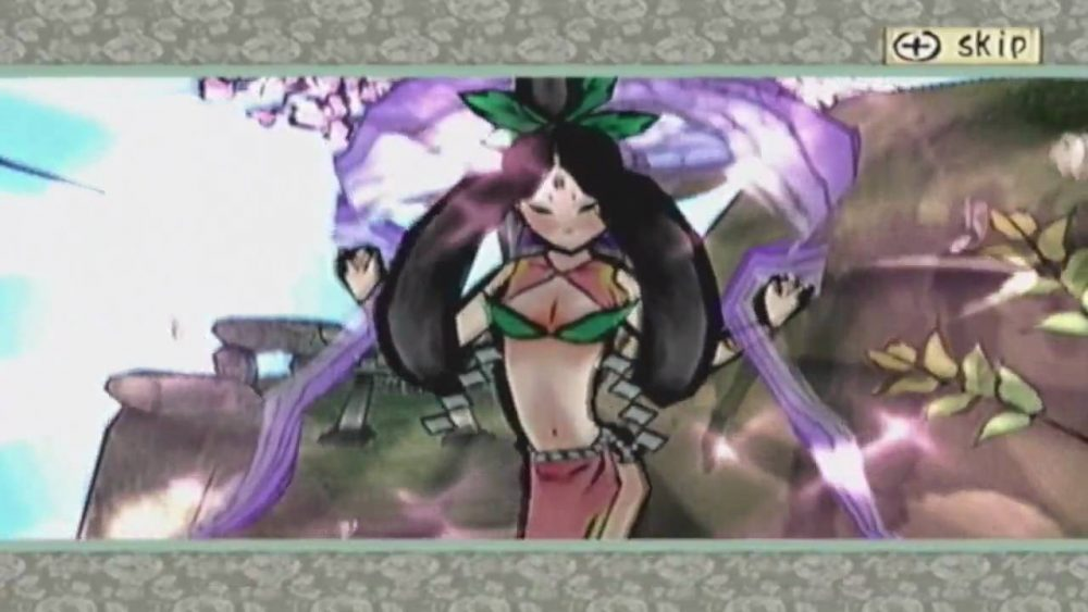 Sakuya, a wood sprite. Sakuya has long black and wears a sleeveless top that covers only her collarbones, with a cutout above her bust and the sparsest possible bikini-type support. Okami, Clover Studios, Capcom, 2006