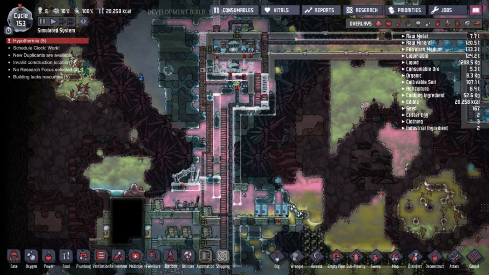 A screenshot showing Joesph's oxygen farm. Oxygen Not Included, Klei Entertainment, 2017.