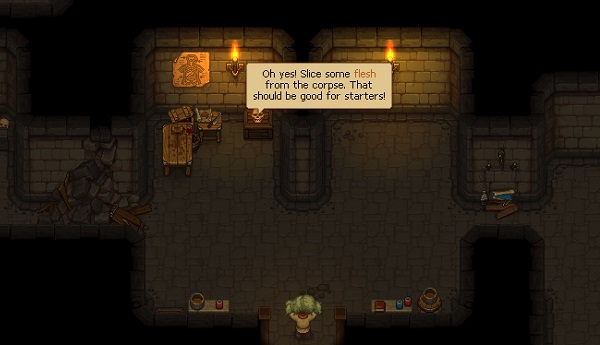 The Keeper in the Mortuary, being given instructions by a talking skull. Graveyard Keeper, Lazy Bear, tinyBuild, 2018.