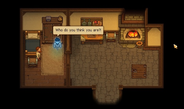 A spirit talking with the Keeper. Graveyard Keeper, Lazy Bear, tinyBuild, 2018.