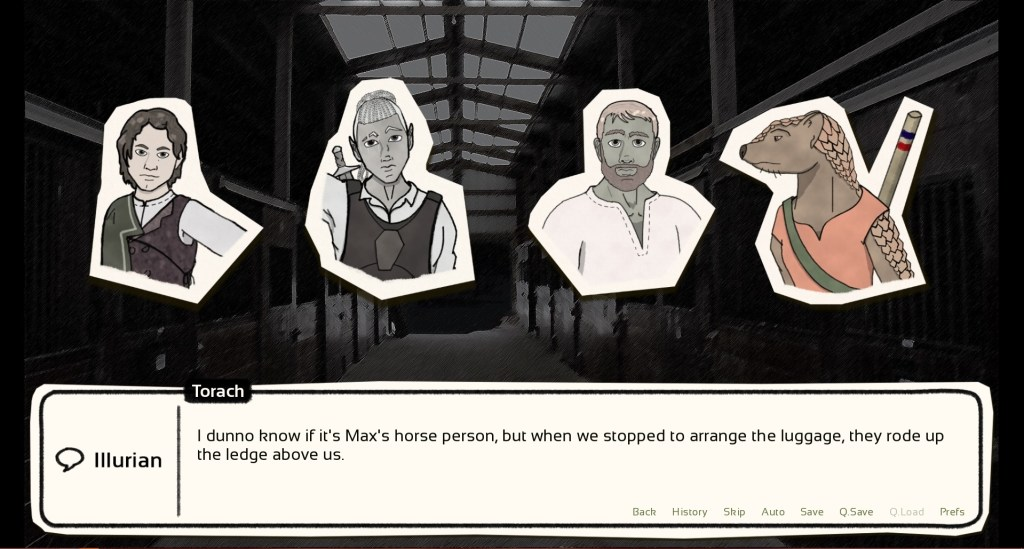 "A screenshot of Hart Connection showing four different characters. The dialog box reads, ""I dunno if it's Max's horse person, but when we stopped to arrange the luggage, they rode up the ledge above us."" Hart Connection, Pixels and Pins, 2018."
