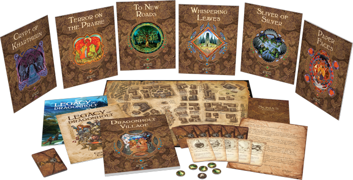 A photo of Legacy of Dragonholt's play materials, including settings, cards, maps, and tokens. All are designed in a style reminiscent of GM adventure modules from D&D 3.5, with lots of browns and old fashioned type.