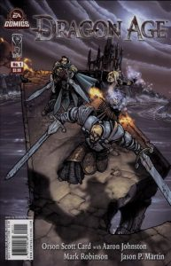 Cover of Dragon Age, Volume 1. Written by Orson Scott Card, with Aaron Johnston, illustrated by Mark Robinson with covers by Humberto Ramos, IDW Publishing, March 2011.