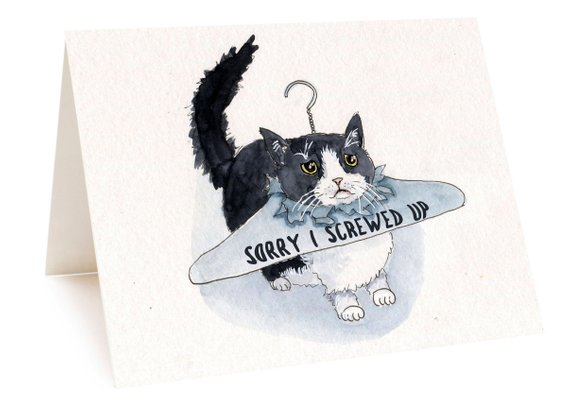 """An image of a card with a black and white cat on it. The cat has stuck its head through the paper of a coat hanger. Text on the paper reads, """"Sorry I screwed up."""""""