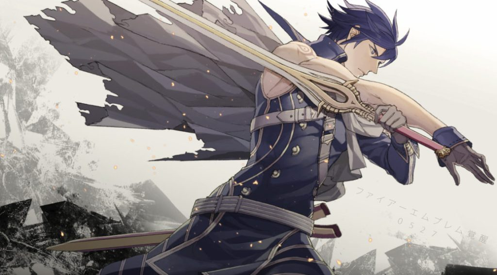 A picture of Chrom pointing his sword backwards, hair and cape flying. Possibly from the WarioWare minigame he apparently exists in. Fire Emblem: Awakening, Intelligent Systems, Nintendo, 2012.