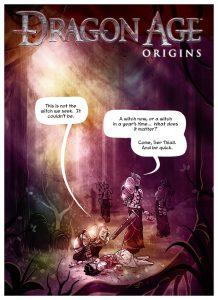Cover of Dragon Age: Origins Webcomic. Penny Arcade, September 2009.