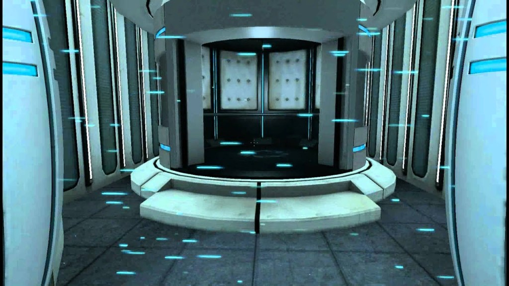 A futuristic-looking elevator. Portal, Valve Corporation, 2007.