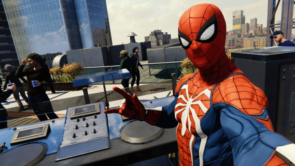 A screenshot of Spider-Man at a DJ booth. Marvel's Spider-Man, Insomniac Games, Sony Interactive Entertainment, 2018.
