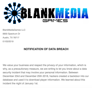 Screenshot of the email from BlankMediaGames that alerts users to the data breach that affected over 7.6 million users.