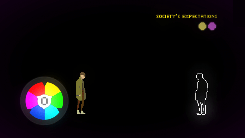 "A screengrab from Beyond the Sense: Lucid Dreamers showing one character on the opposite end of the screen from a white-outlined, mirrored silhouette of themself. Above them are the words ""Society's Expectations."" Beyond the Sense: Lucid Dreamers, HER.E Game Studio, 2019."