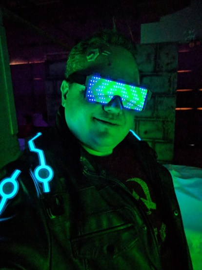 Matthew Webb in cyberpunk costume (photo used with permission by Jackalope LARP)