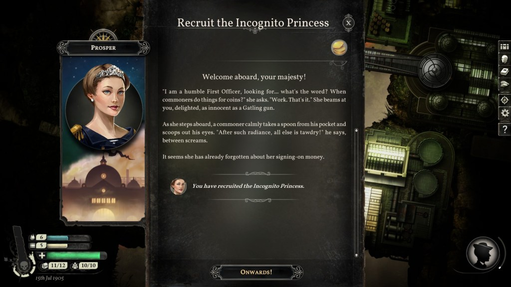 A screenshot of Sunless Skies showing the Incognito Princess quest. Sunless Skies, Failbetter Games, 2019.