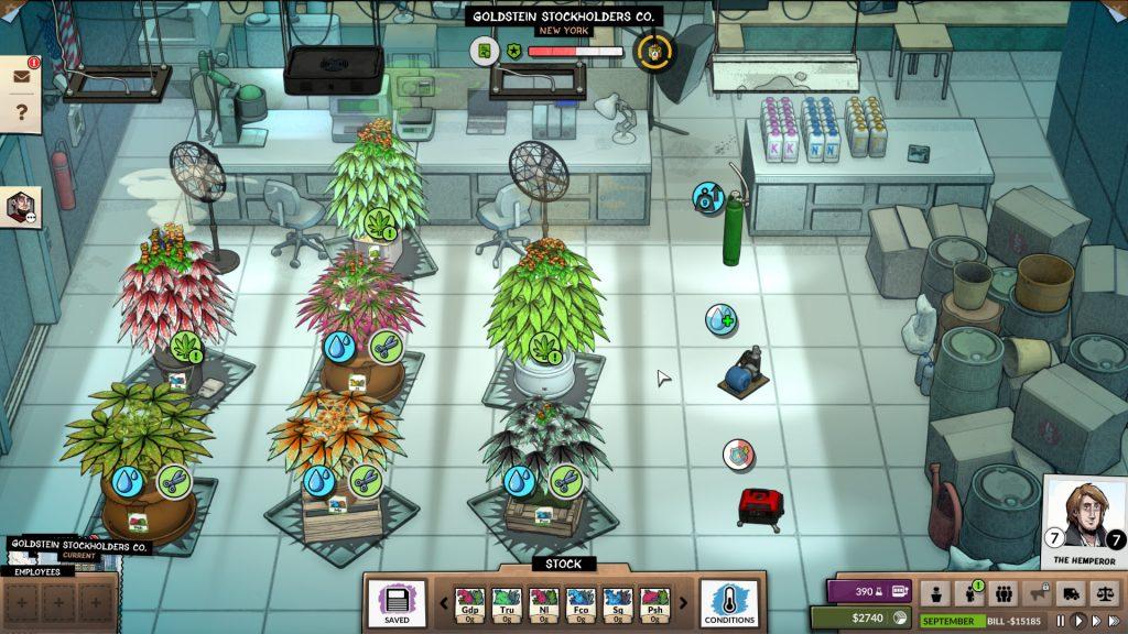 A screenshot of Weedcraft Inc. Weedcraft Inc., Vile Monarch, Devolver Digital, 2019.
