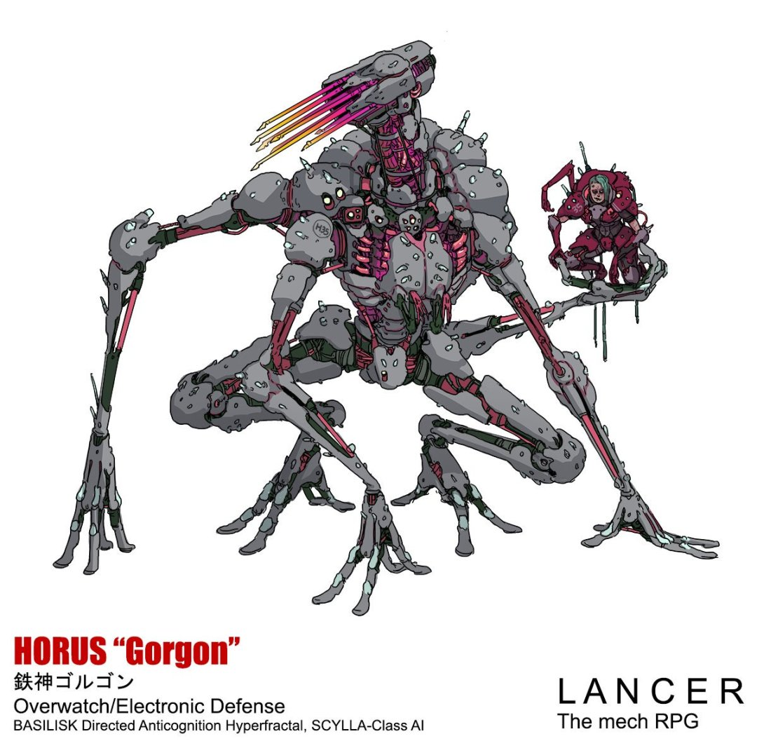 "Character art for a lancer mech. An anatomically scraggily-designed mech is squatting and using its four arms to hold its ground. One arm protruding from its back is holding a humanoid in its palm. Its wirings are exposed through the crevices of its joints. It is captioned: ""HORUS 'Gorgon.'"" Lancer, Massif Press, 2019."