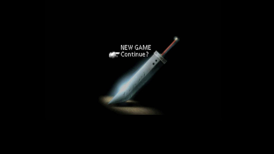 "The loading screen from FFVII, which gives the options ""NEW GAME"" and ""Continue?"" above a large sword. Final Fantasy VII, Square Enix, 1997."