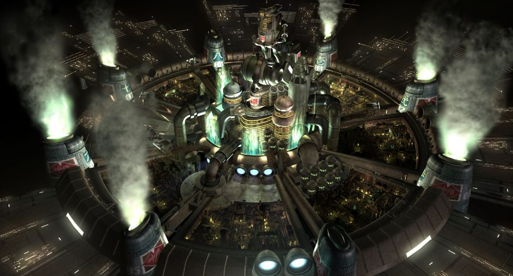 """A screenshot from FFVII that shows the heavily industrial city of Midgar at night, which sits at the center of an eight-spoked wheel-like city plan, with eight Mako reactors at the end of each """"spoke."""" Final Fantasy VII, Square Enix, 1997."""