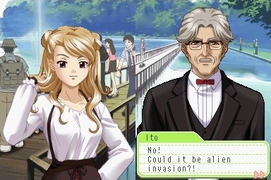 """On the right side of the screen: a girl with a smarmy expression has her blonde hair dressed up in two small buns. Her right hand twirls one side of her hair. On the left side of the screen: an older man dressed in a black suit with a red bow tie wears glasses. A textbox on the bottom of the screen: """"Ito: No! Could it be alien invasion?!"""" The background is before a bridge on a lake with trees receding in the distance."""