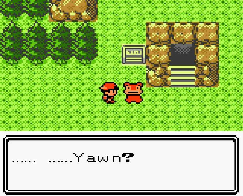 """A character wearing a cap looks towards the left at a creature (a Slowpoke) with trees adjacent to the left of the screen. A textbox on the bottom reads: """"..... ..... Yawn?"""" They stand near a stairwell descending down, bordered by a rocky frame with a sign to its right."""