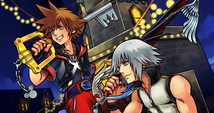 A crop of key art from Kingdom Hearts: Dream Drop Distance. Sora and Riku perch on a clocktower. Sora grins and Riku smiles. Both hold their keyblades on their shoulders. Kingdom Hearts: Dream Drop Distance, Square Enix, 2012