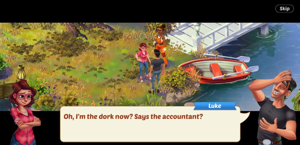 """Lily and Luke stand in a garden. Luke, laughing, says, """"Oh, I'm the dork now? Says the accountant?"""""""