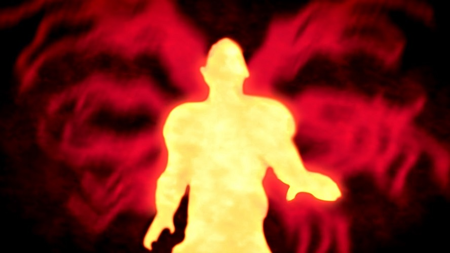 A screenshot of The Blackout Club, showing a yellow silhouette of a humanoid figure against a swirling red background.