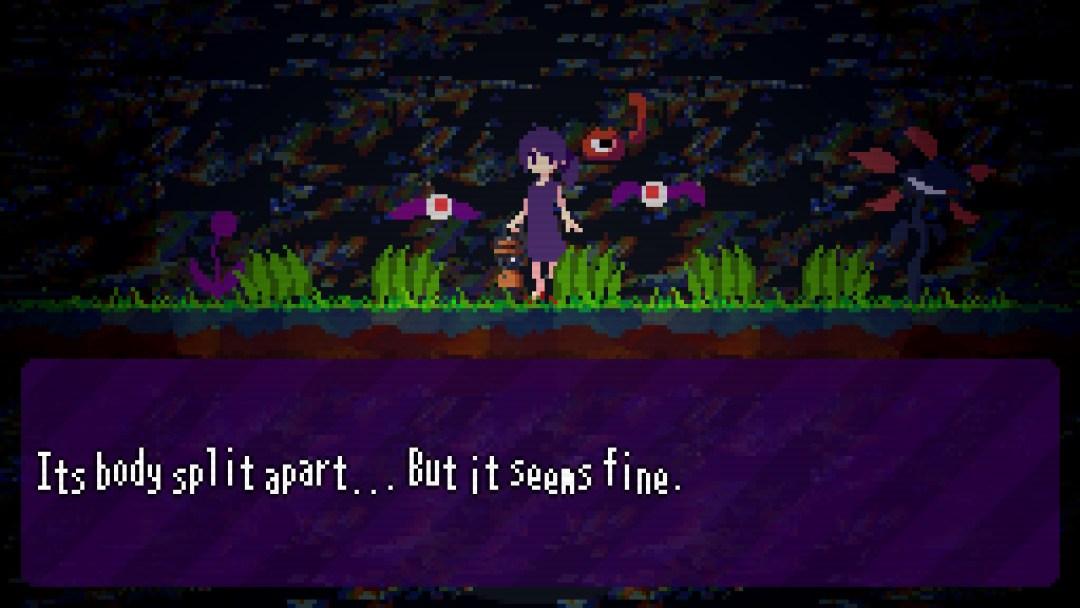 "Jill is flanked by strange eyeball bats, the in-game caption reads ""Its body split apart... but it seems fine"""