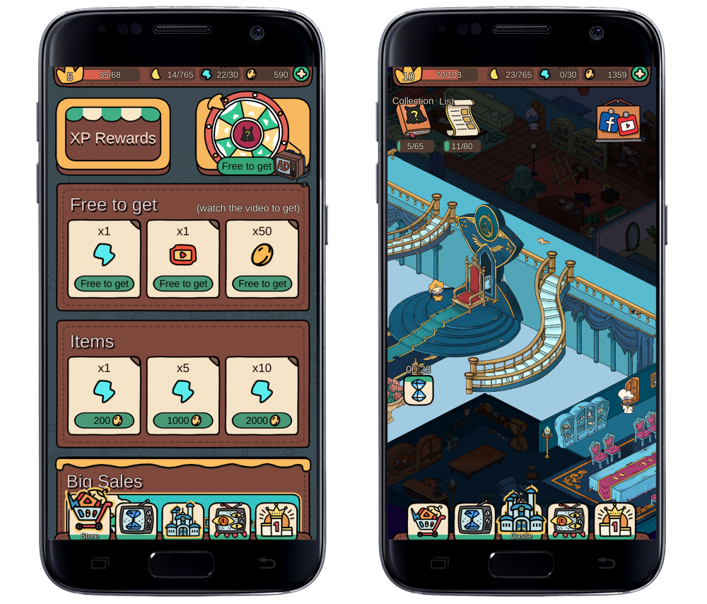Two screencaps framed in a representation of a mobile phone. The left screencap shows a menu of assorted options, from watching ads or paying in-game money, to reap certain awards like more stamina. The right screencap shows a castle in ruins partially furnished or blacked out. From Dream Detective, Century Game, 2019.