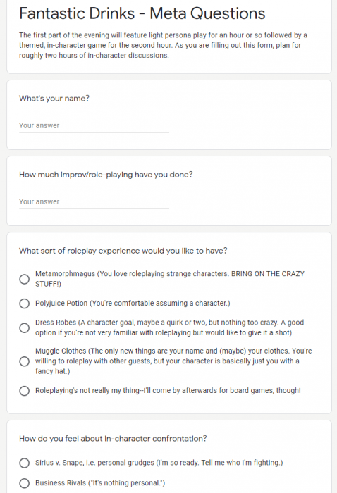 """A screenshot of part of the survey sent to players to help them develop their characters. Questions include """"How much improve-roleplaying have you done?"""" and """"How do you feel about in-character confrontation?"""""""